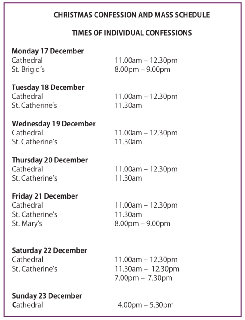 Mass and Confession times for Christmas - Newry Cathedral Parish